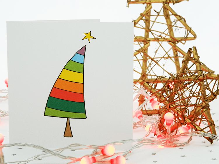 Rainbow Christmas Tree Card • Gaynor Marshall Designs