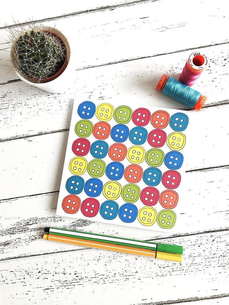 brights buttons greetings card
