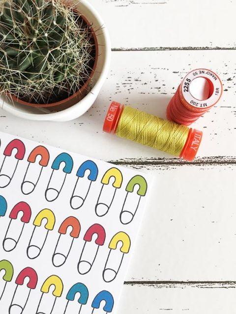 brights pins greetings card