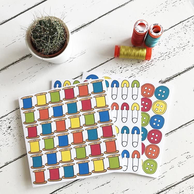 brights buttons reels pins greetings cards