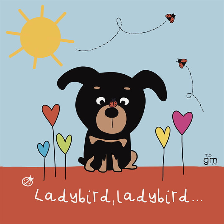 cute illustrated Dobermann puppy with a ladybird on her nose, stylised flowers made of hearts with a yellow sun 100 day project