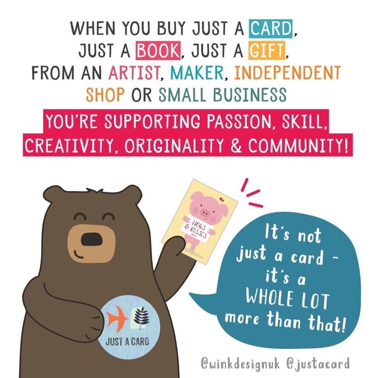 Cute bear illustration encouraging people to shop small.